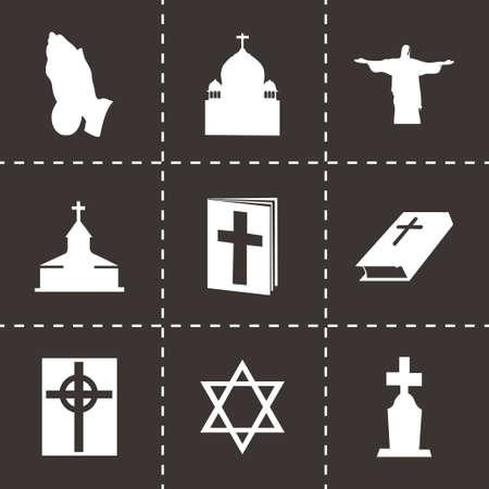 triskel: Vector religion icons set on black background Illustration