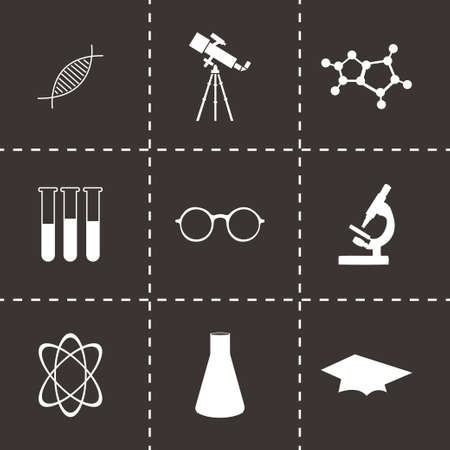 bunsen burner: Vector science icons set on black background