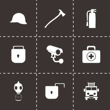 Vector security icons set on black background Vector