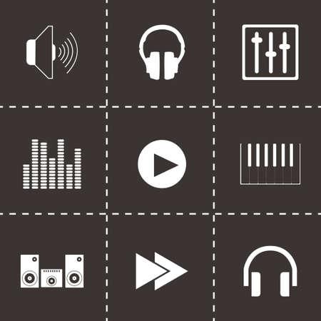 Vector sound icons set on black background