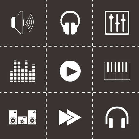 cd recorder: Vector sound icons set on black background