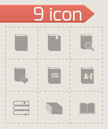videobook: Vector book icon set on grey background Illustration