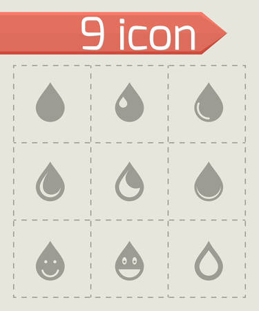 Vector drop icon set on grey background Vector