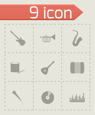 Vector music icon set on grey background Illustration