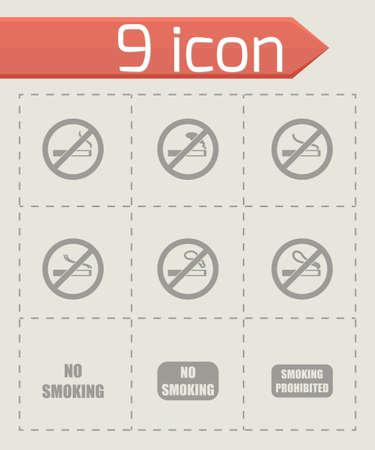 Vector no smoking icon set on grey background Illustration