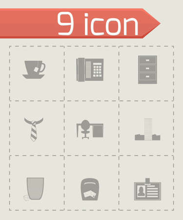 icone office: bureau de Vector icon set sur fond gris