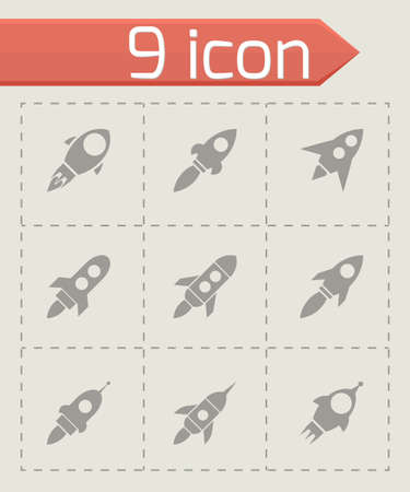 rocketship: Vector rocket icon set on grey background