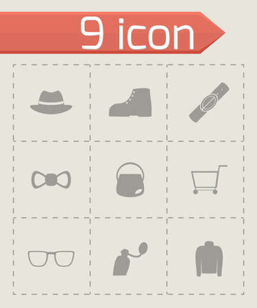 Vector shopping icon set on grey background Illustration
