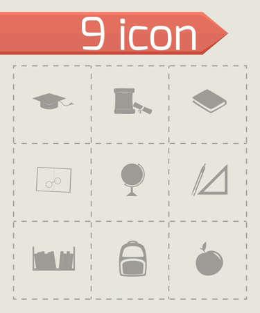 study icon: Icono de estudio Conjunto de vectores sobre fondo gris