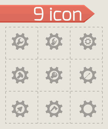 Vector tools in gear icon set on grey background Vector