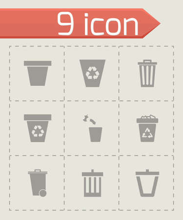trashing: Vector trash can icon set on grey background