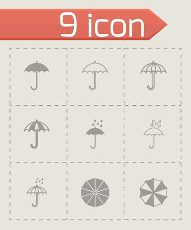 london night: Vector umbrella icon set on grey background