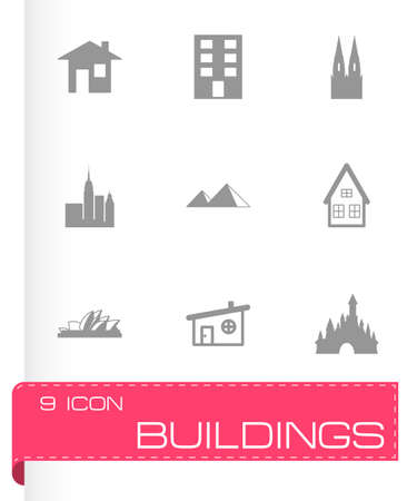 headquarters: Vector buildings icons set on white background Illustration