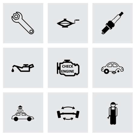 Vector black car service icons set on grey background Illustration