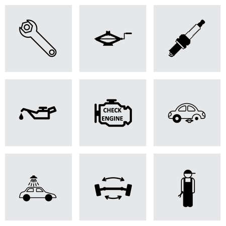 car service: Vector black car service icons set on grey background Illustration