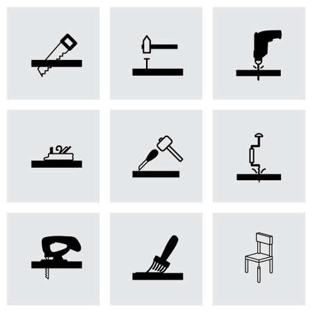 craftsmen repair: Vector black carpentry icons set on grey background