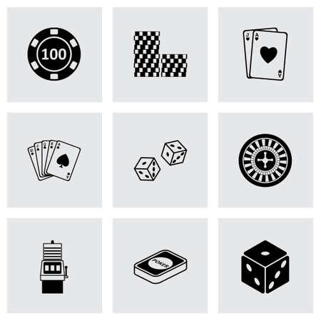 wheel of fortune: Vector black casino icons set on grey background Illustration