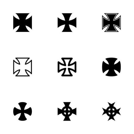 iron cross: Vector choppers crosses icon set on white background