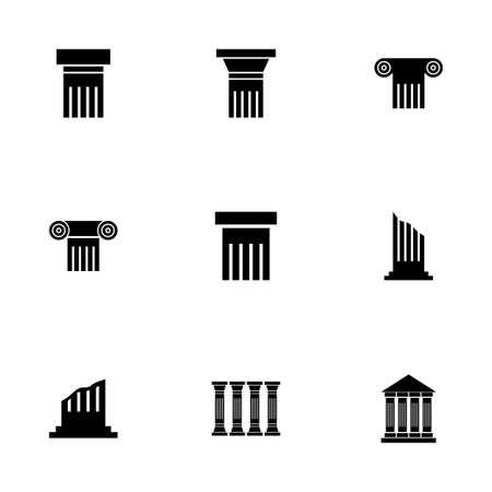 arte greca: Vector nero icona di colonna impostato su sfondo bianco