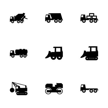 icona trasporti: Vector construction transport icon set on white background