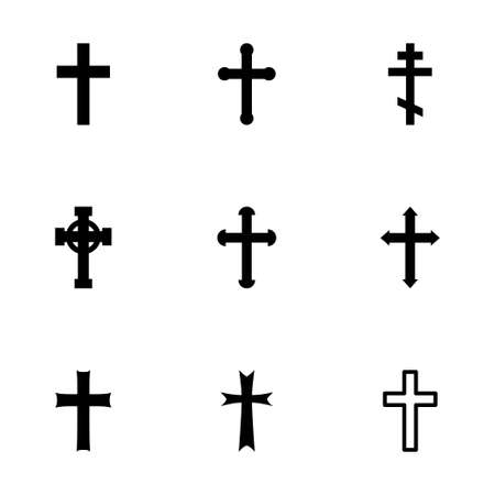 religious backgrounds: Vector black crosses icon set on white background Illustration