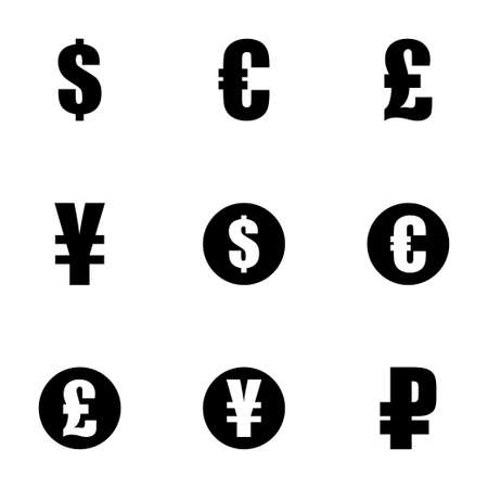 currency symbols: Vector black currency symbols  icons set on white background Illustration