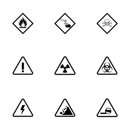 Vector black danger icons set on white background Illustration