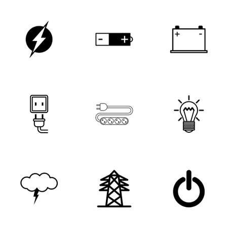 electricidad: Vector iconos de electricidad negro establecidos en el fondo blanco Vectores