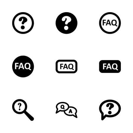 faq icon: Vector icono faq negro ajustado en el fondo blanco