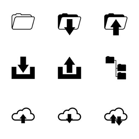 ftp: Vector black ftp icons set on white background