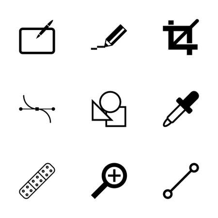 prepress: Vector black graphic design icons set on white background Illustration