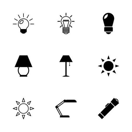 black light: Vector black light icons set on white background