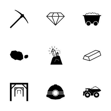 camion minero: Vector iconos mineras negro establecidos en el fondo blanco Vectores