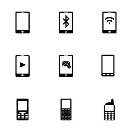 cell phone transmitter tower: Vector black mobile icons set on white background Illustration