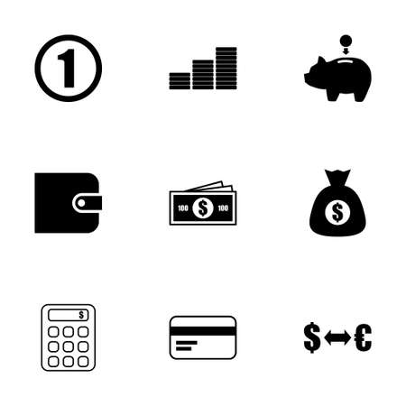 black money: Vector black money icons set on white background