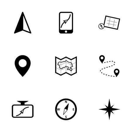 Vector black navigation icons set on white background Vector