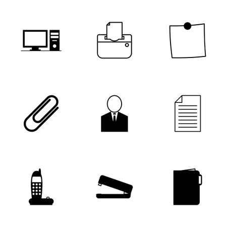 Vector black office icons set on white background Vector