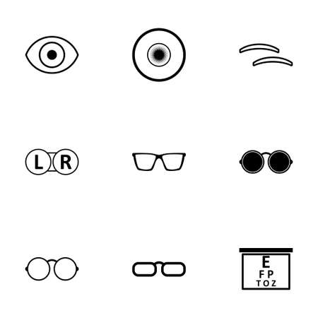optometry: Vector black optometry icons set on white background Illustration