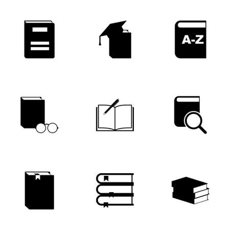 schoolbook: Vector black schoolbook icon set on white background