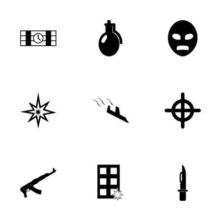 nuclear weapons: Vector terrorism icons set white background