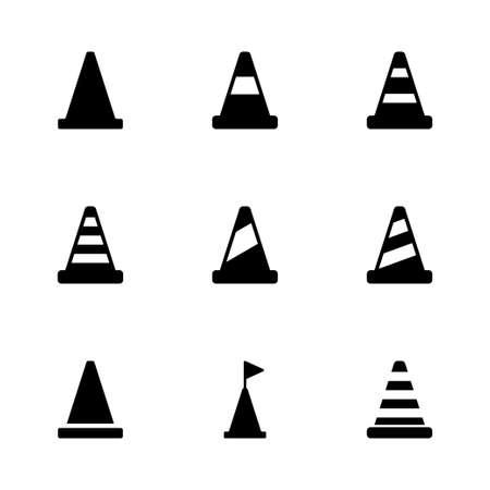 black and white cone: Vector black traffic cone icon set on white background