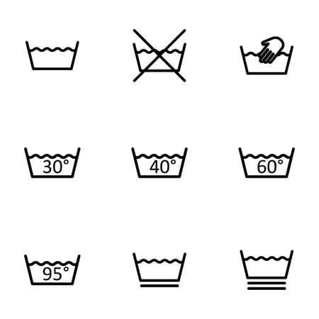 laundry care: Vector black washing signs icon set on white background