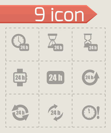 Vector 24 hours icon set on grey background Vector