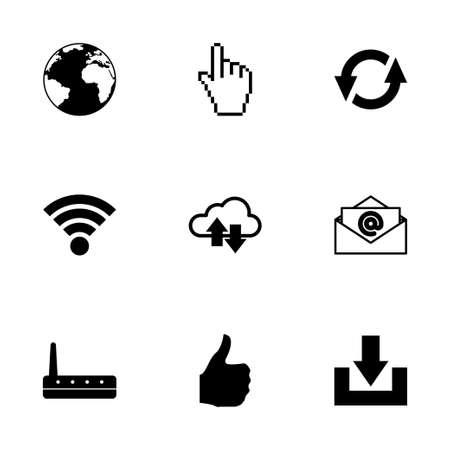 Vector icono de Internet situado en el fondo blanco