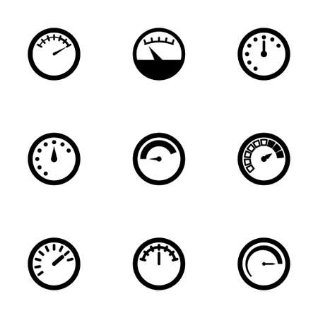 barometer: Vector meter icon set on white background