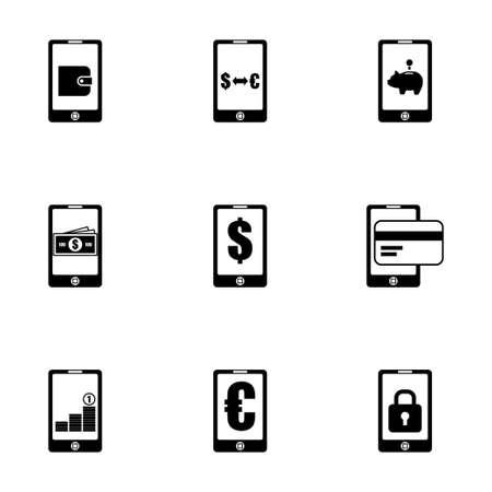 mobile banking: Vector mobile banking icon set on white background Illustration