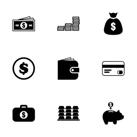 cell phone transmitter tower: Vector money icon set on white background