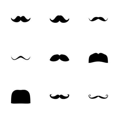 curled lip: Vector moustaches icon set on white background Illustration