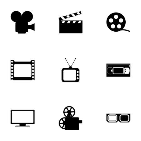 pg: Vector movie icon set on white background