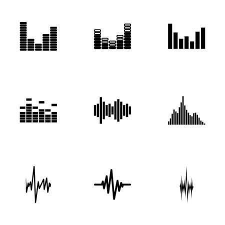 Vector music soundwave icon set on white background
